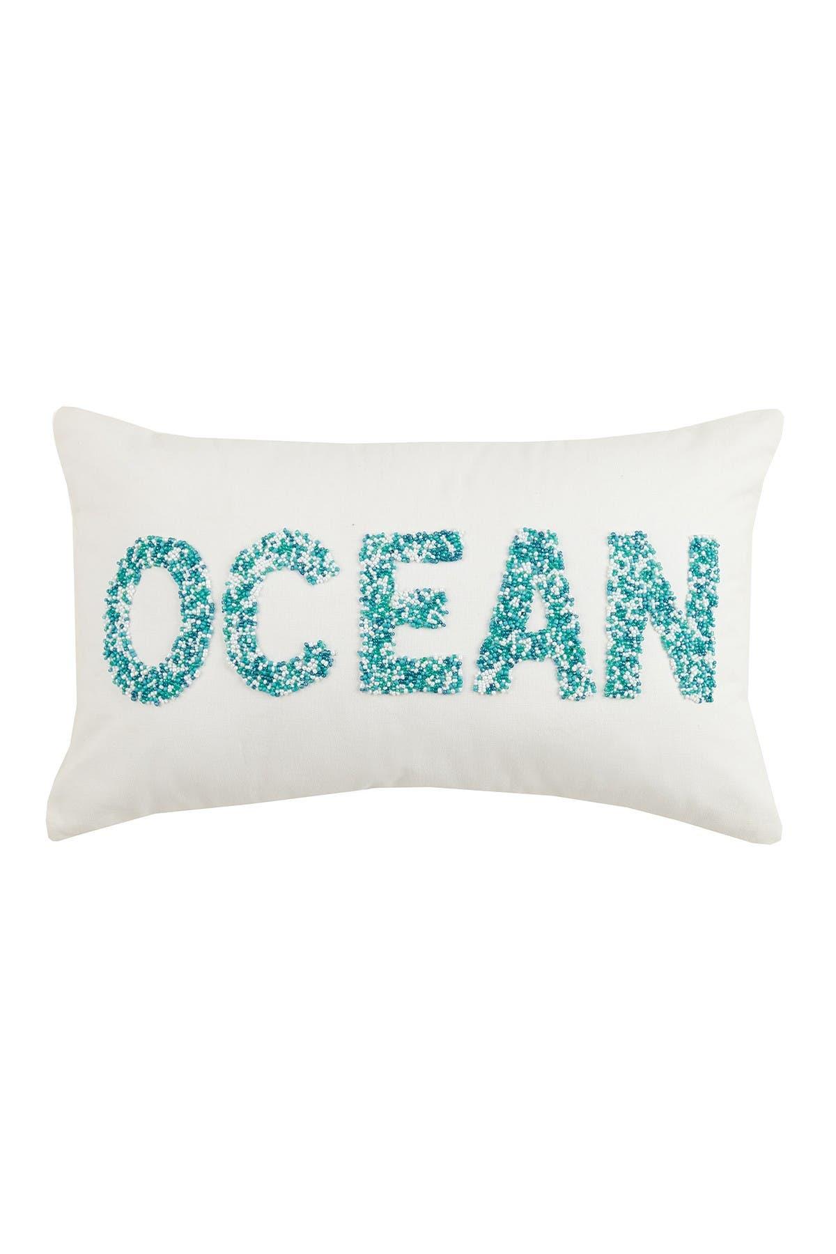 "Image of Peking Handicraft Ocean Beaded Pillow - 12"" x 20"" - Blue/White"