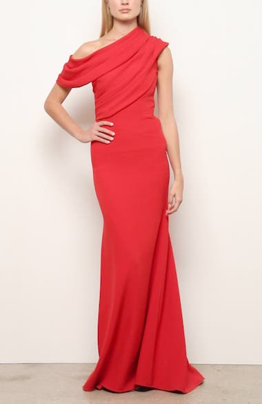 Badgley Mischka Draped One-Shoulder Gown, video thumbnail