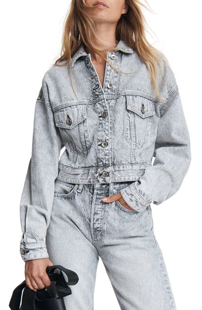 Rag & Bone ACID WASH CROP DENIM TRUCKER JACKET