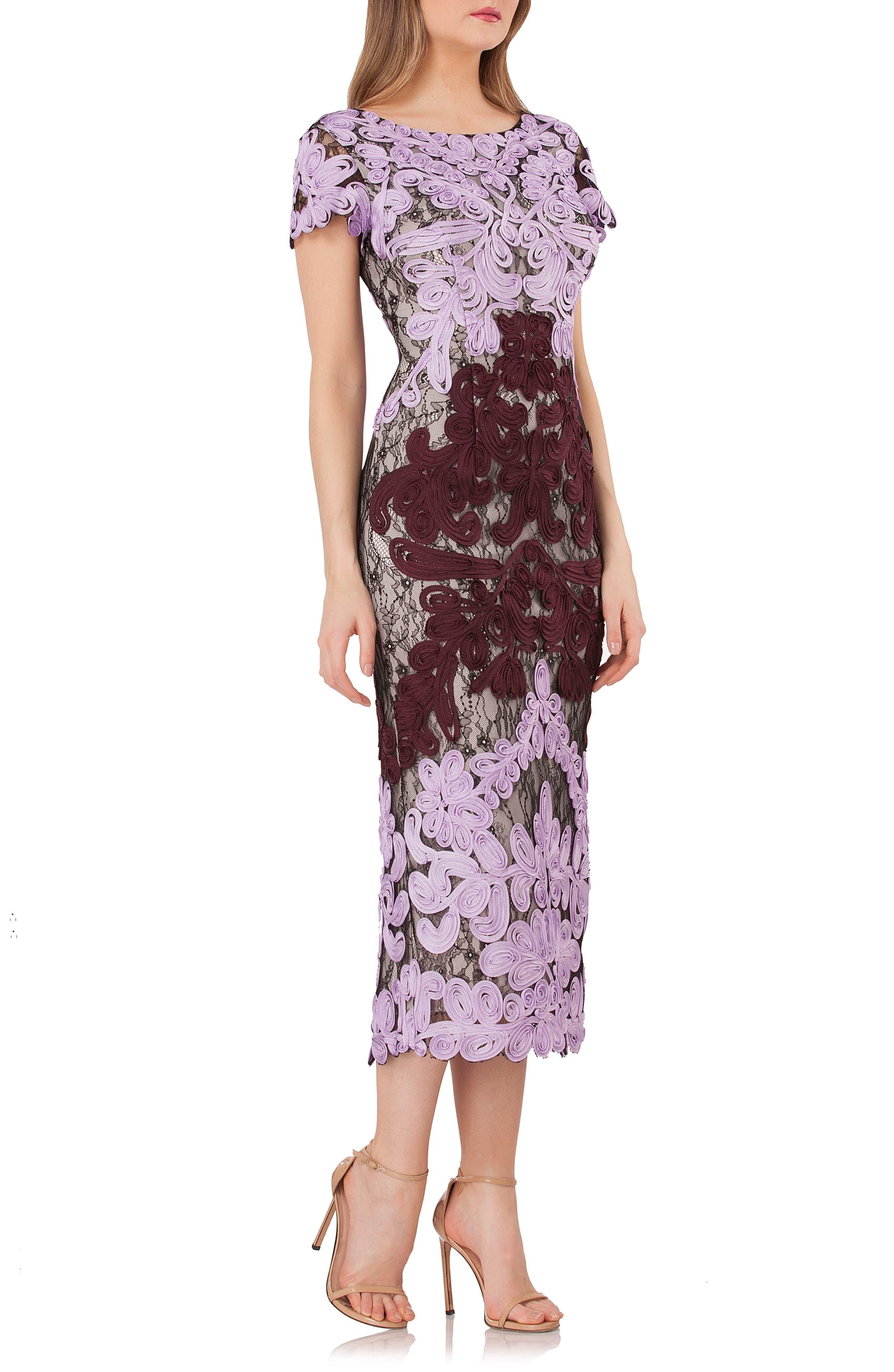 Soutache Lace Midi Dress, Main, color, ORCHID/ CHIANTI