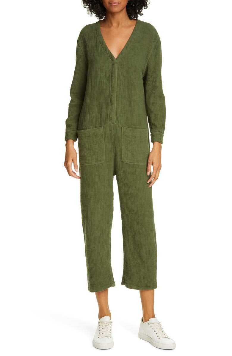 THE GREAT. The Union Coverall Jumpsuit, Main, color, OLIVE