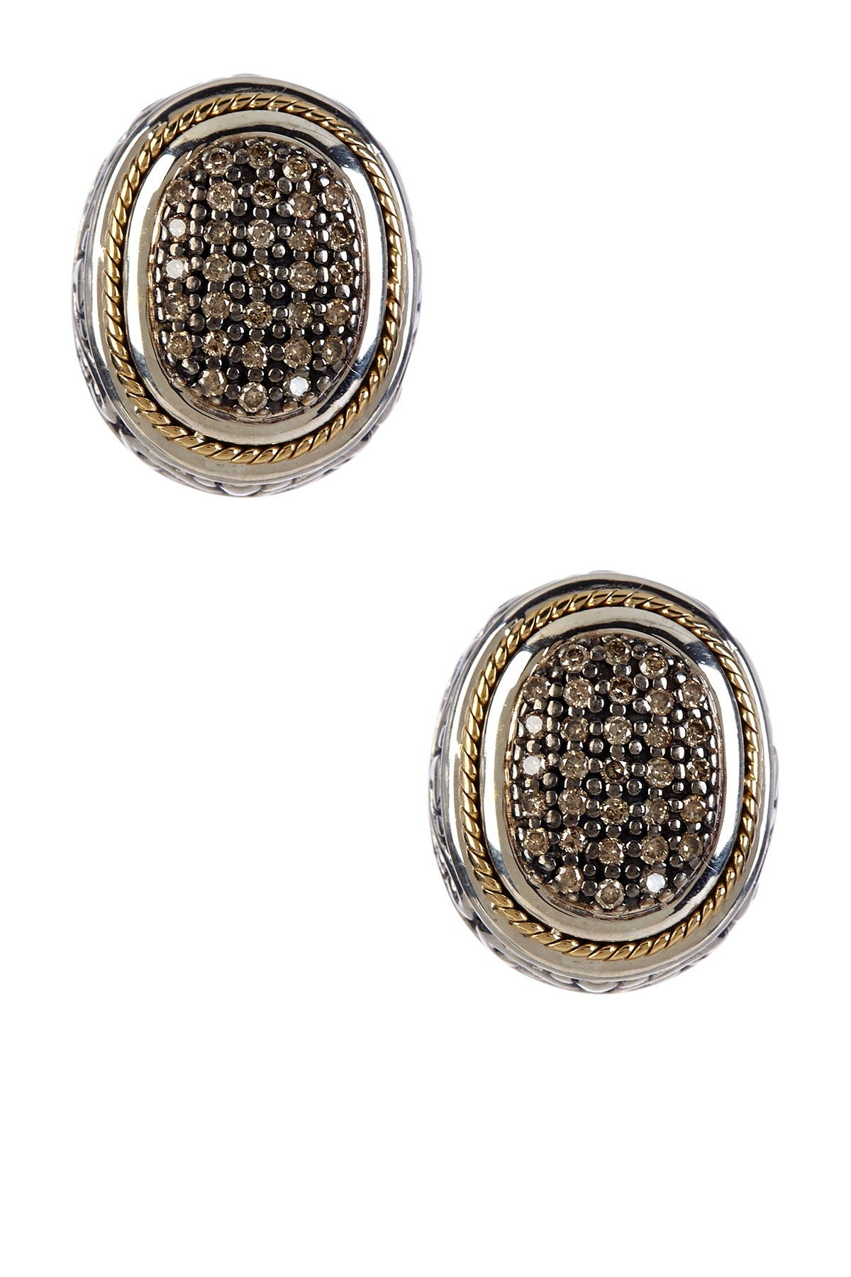 Image of Effy Sterling Silver & 18K Yellow Gold Brown Diamond Oval Earrings - 0.62 ctw