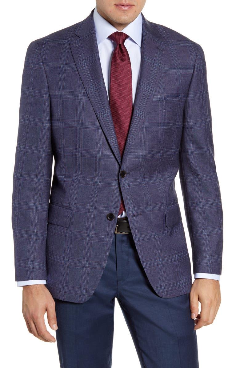 HART SCHAFFNER MARX Classic Fit Plaid Wool Sport Coat, Main, color, 420
