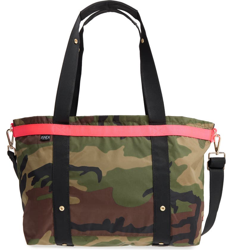 ANDI The ANDI Camo Convertible Tote, Main, color, WOODLAND CAMOUFLAGE/ HOT PINK