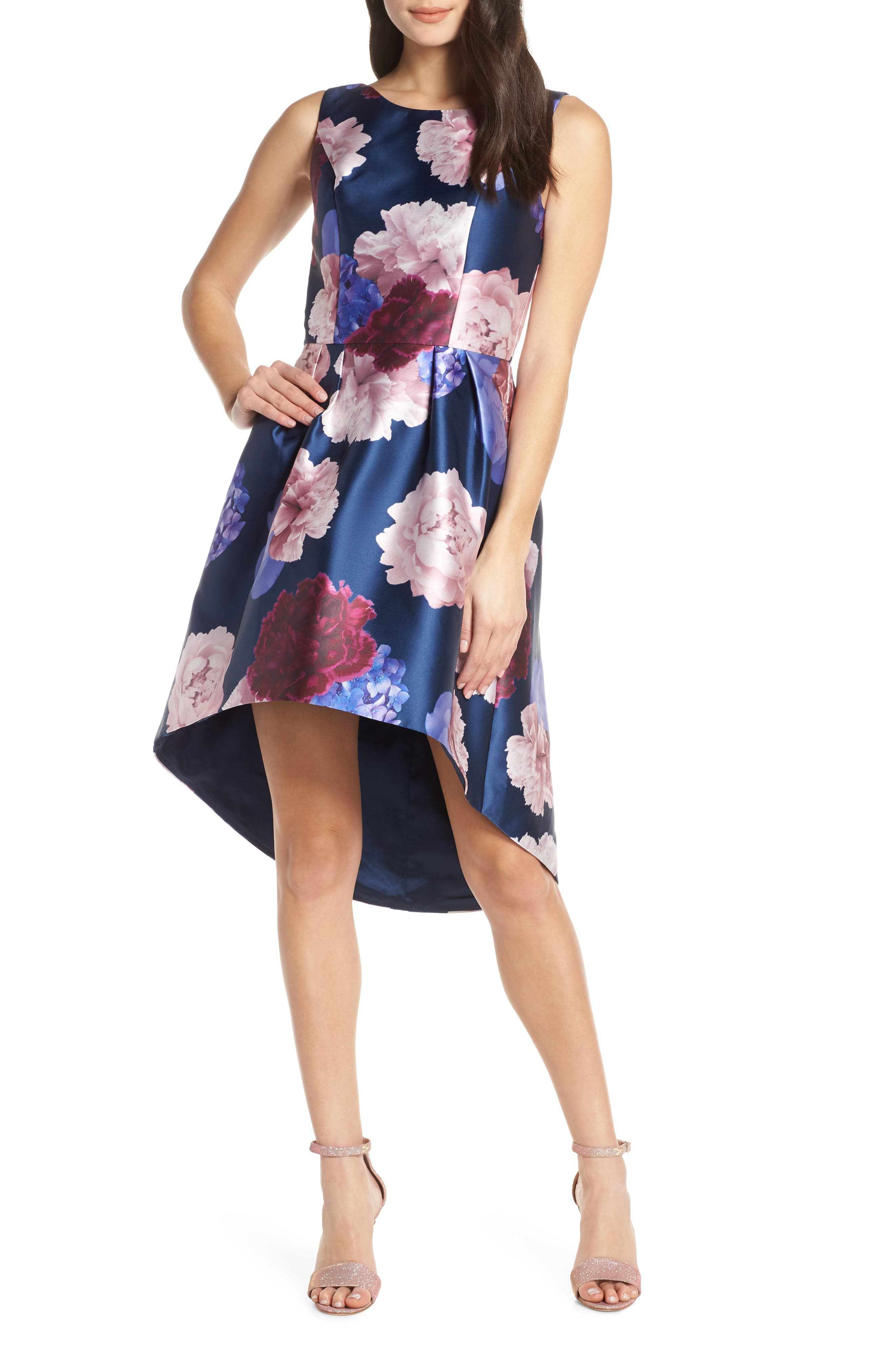 Chi Chi London Jayla High/low Satin Cocktail Dress, Blue