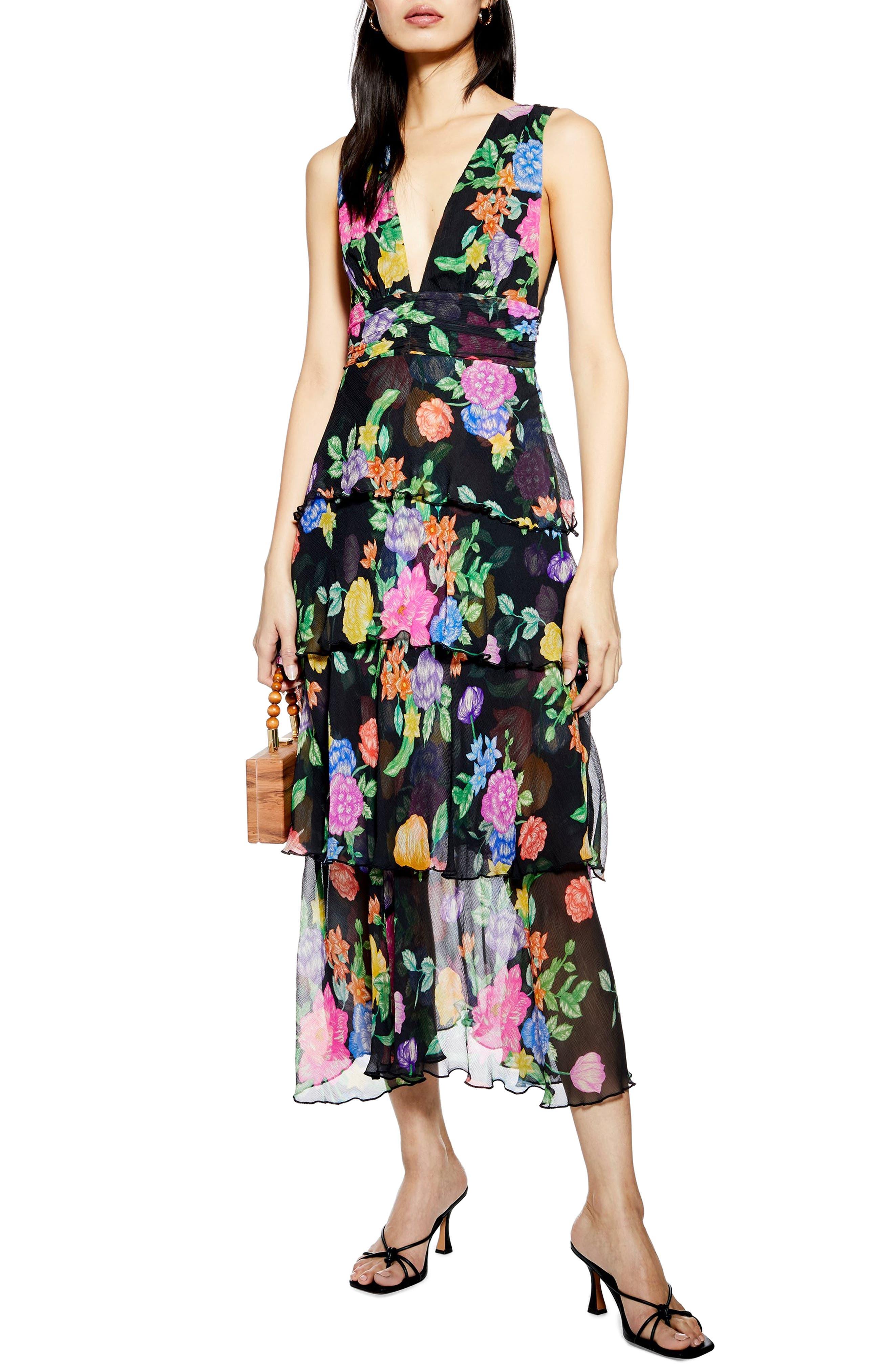 Topshop Freida Floral Pinafore Maxi Dress, US (fits like 2-4) - Black