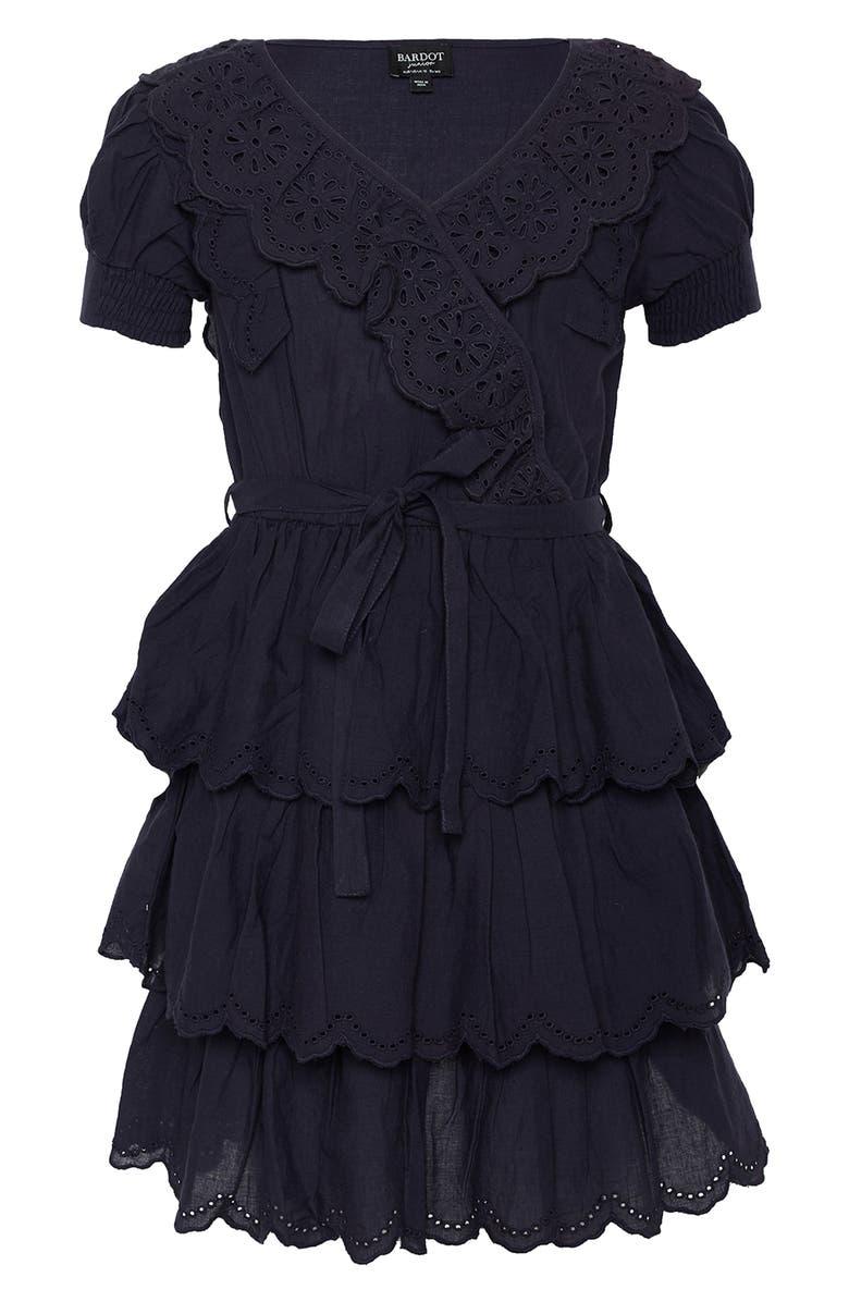 BARDOT JUNIOR Cindy Broderie Dress, Main, color, NAVY