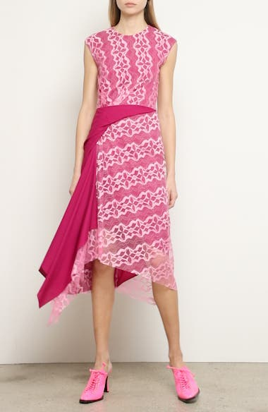 Gathered Contrast Panel Lace Dress, video thumbnail