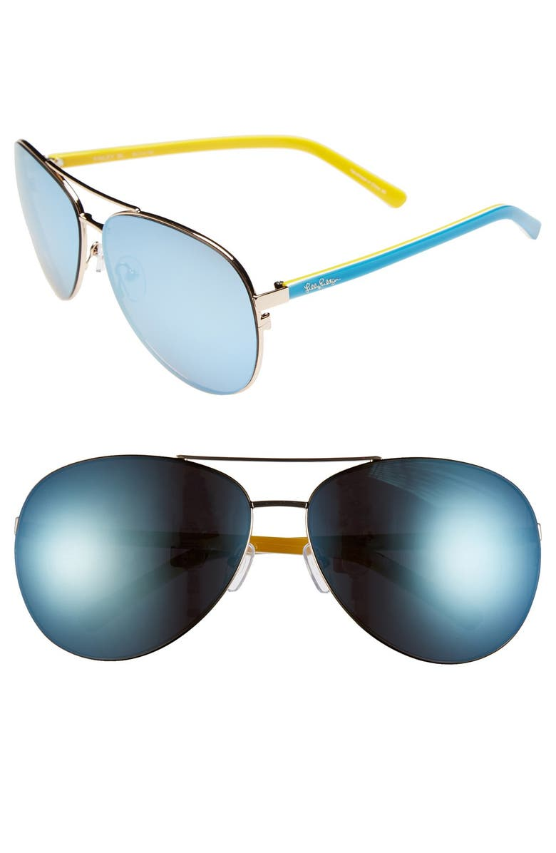 LILLY PULITZER<SUP>®</SUP> 'Finley' 65mm Aviator Sunglasses, Main, color, 710