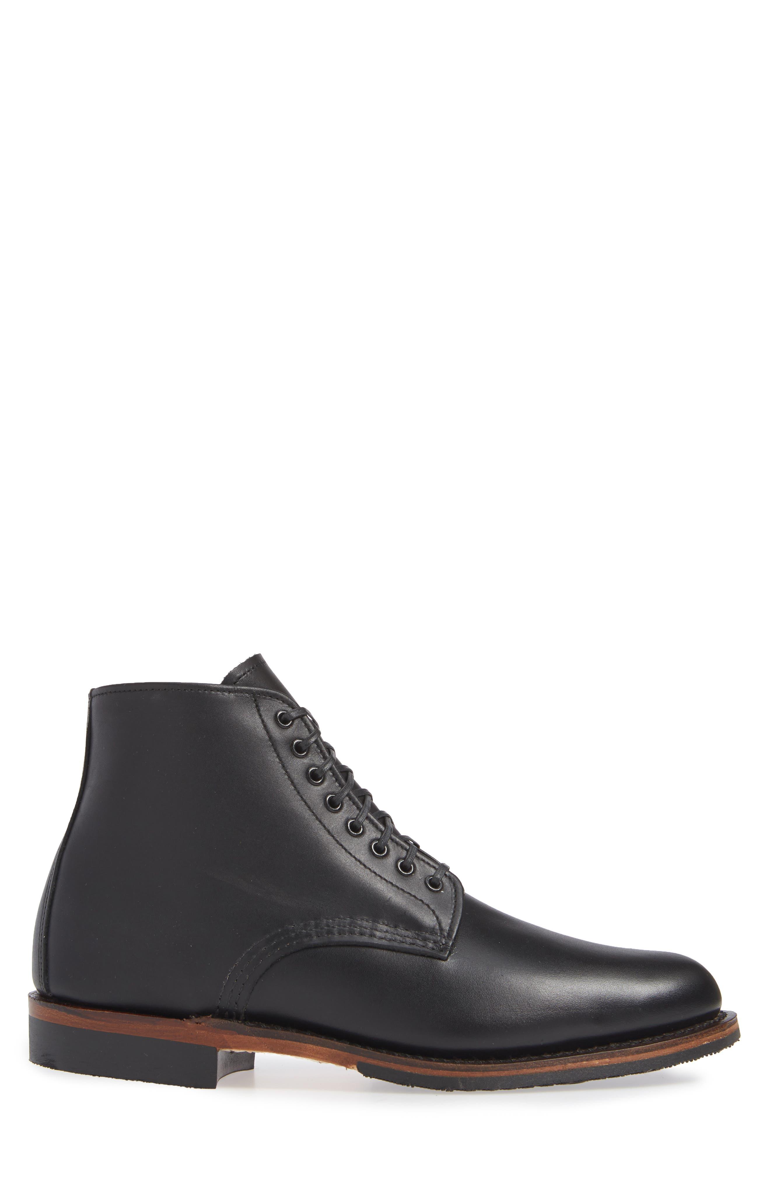 ,                             Williston Plain Toe Boot,                             Alternate thumbnail 3, color,                             BLACK LEATHER