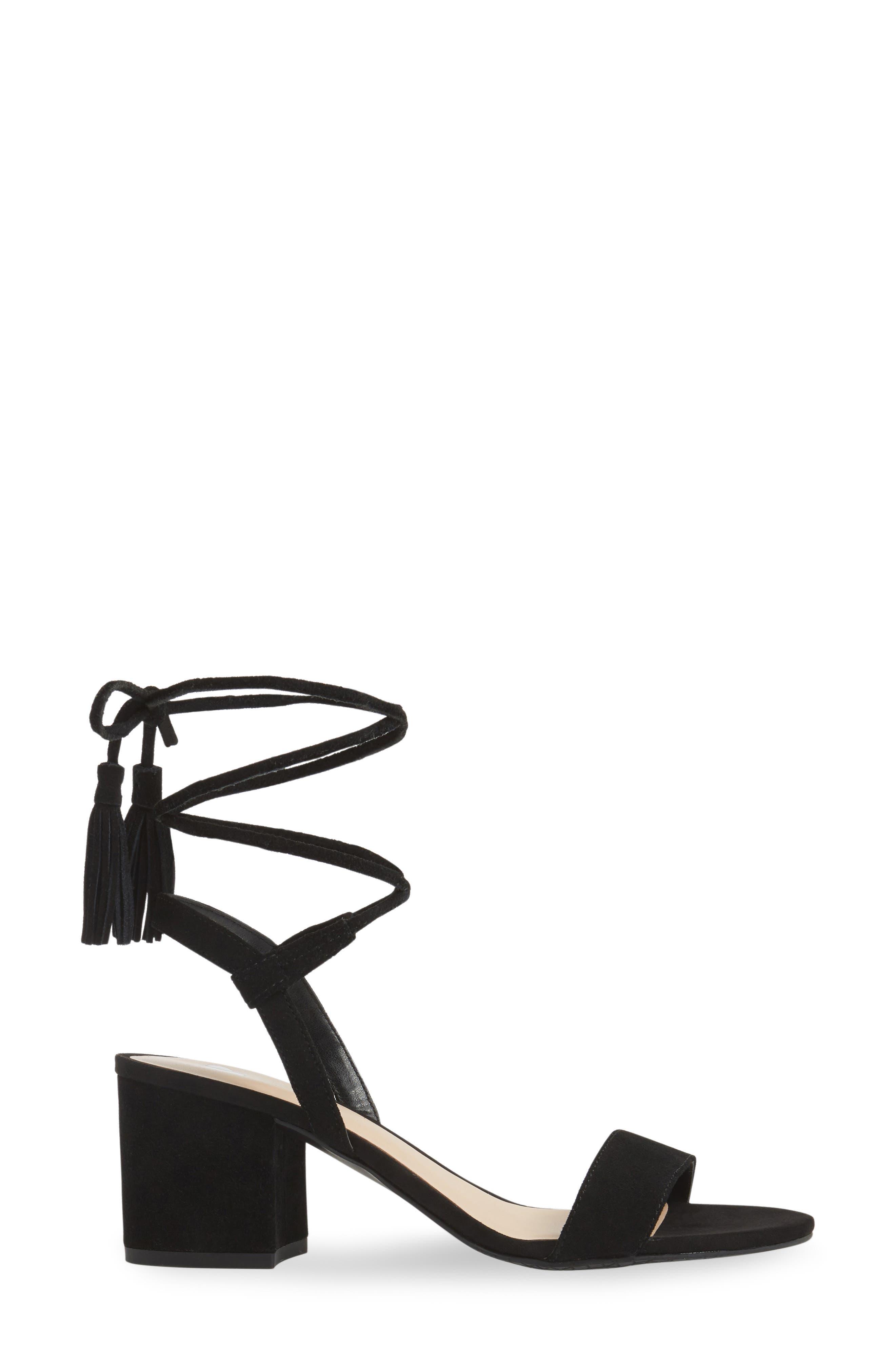 ,                             Karla Block Heel Ankle Wrap Sandal,                             Alternate thumbnail 3, color,                             001