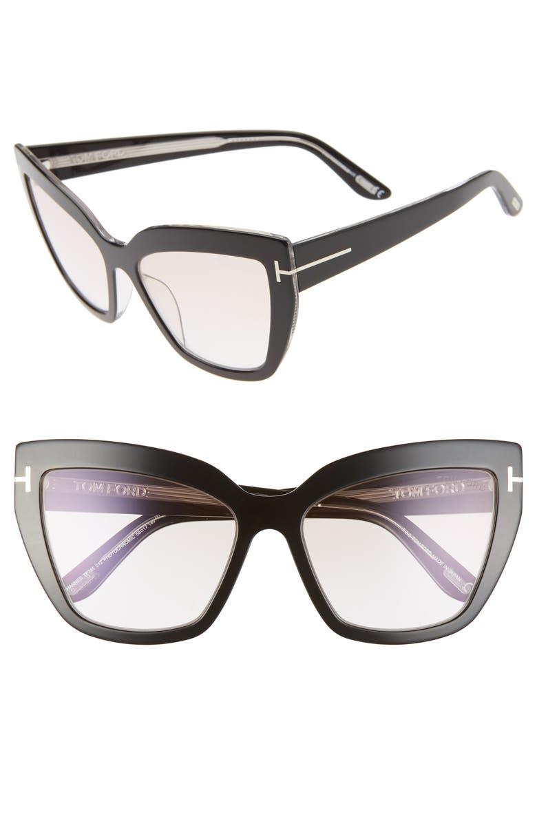 TOM FORD Johannes 58mm Cat Eye Sunglasses, Main, color, BLACK/ PINK