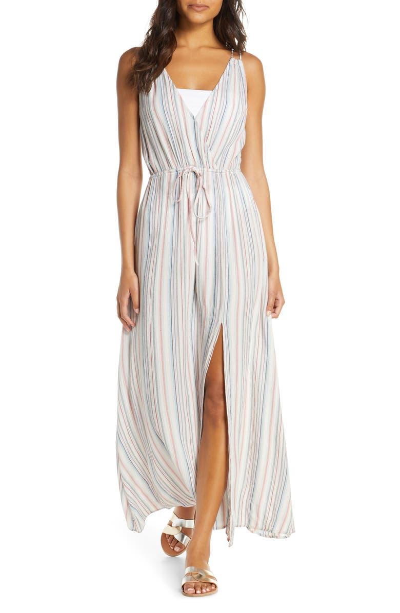 ELAN Tie-Back Maxi Dress, Main, color, RAINBOW MINI STRIPE