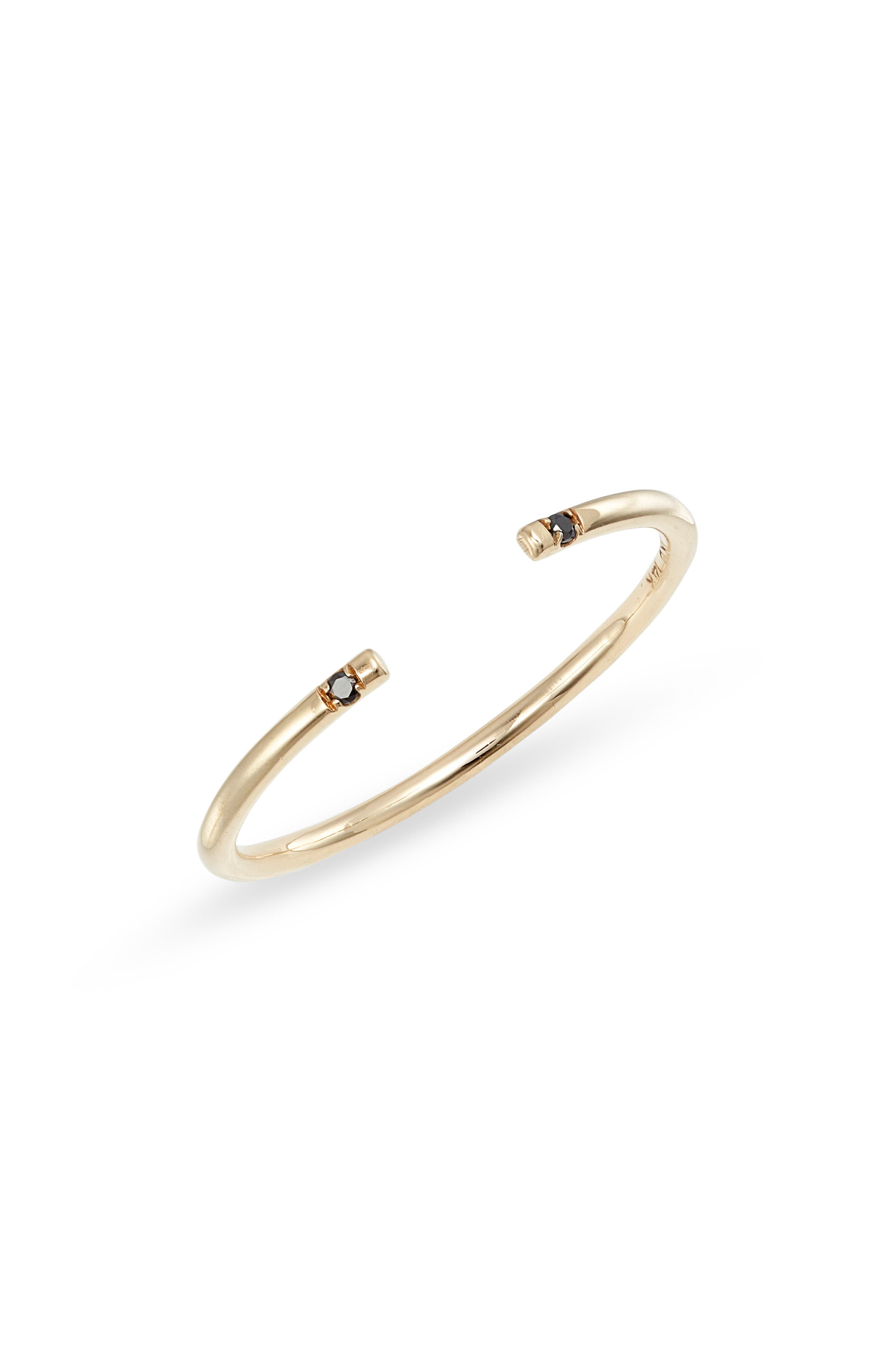 Black Diamond Open Band Ring