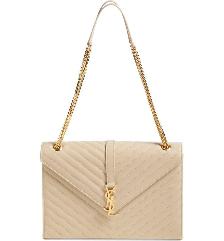 SAINT LAURENT 'Large Monogram' Grained Leather Shoulder Bag, Main, color, 251