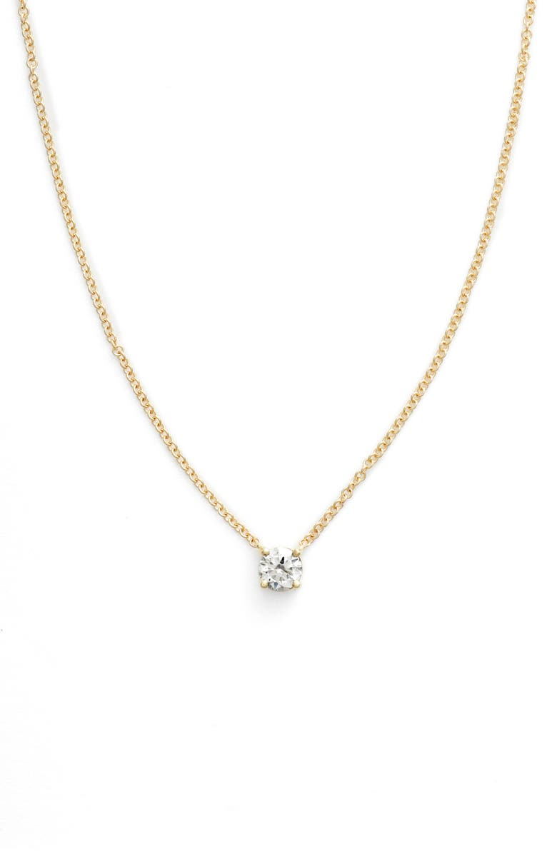 BONY LEVY Liora Solitaire Diamond Pendant Necklace, Main, color, YELLOW GOLD