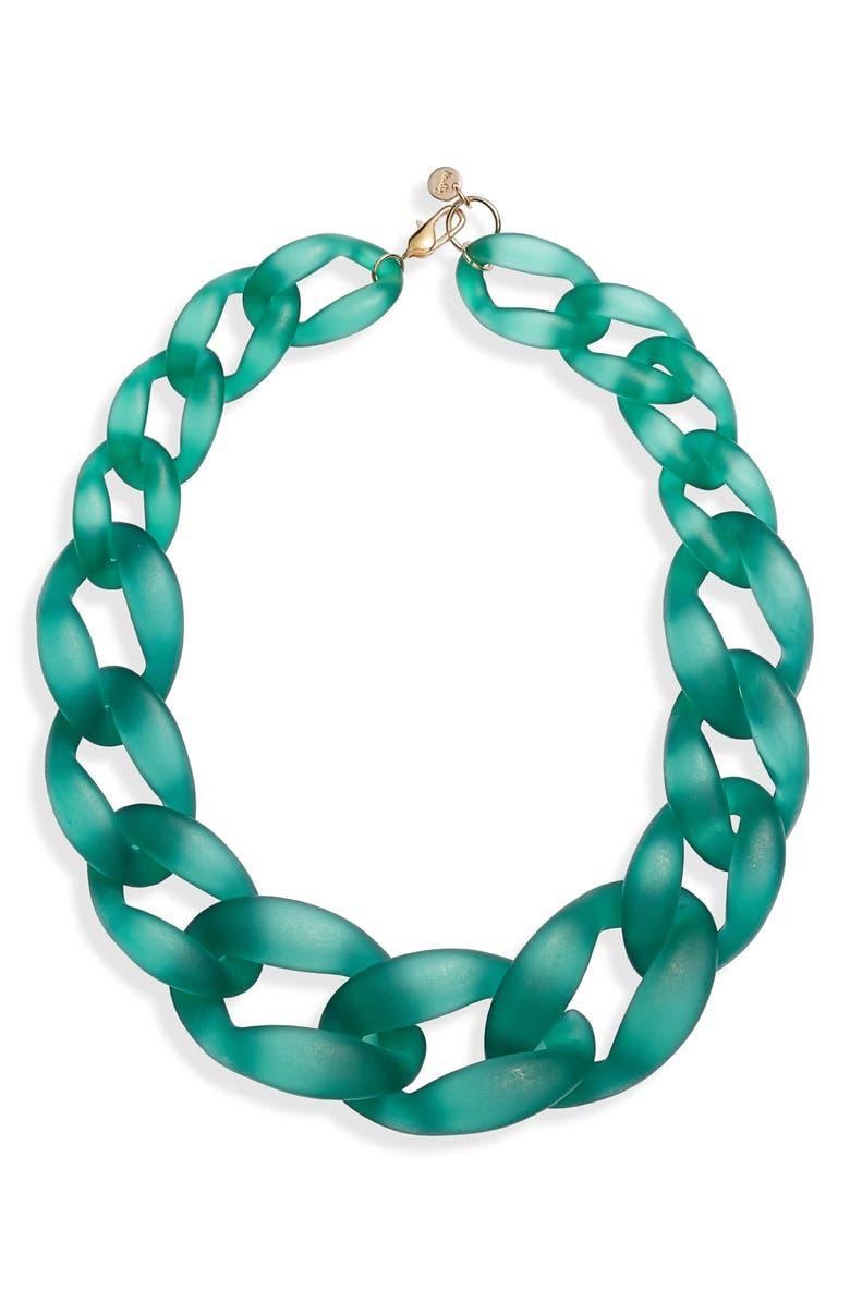 KNOTTY Links Necklace, Main, color, TEAL