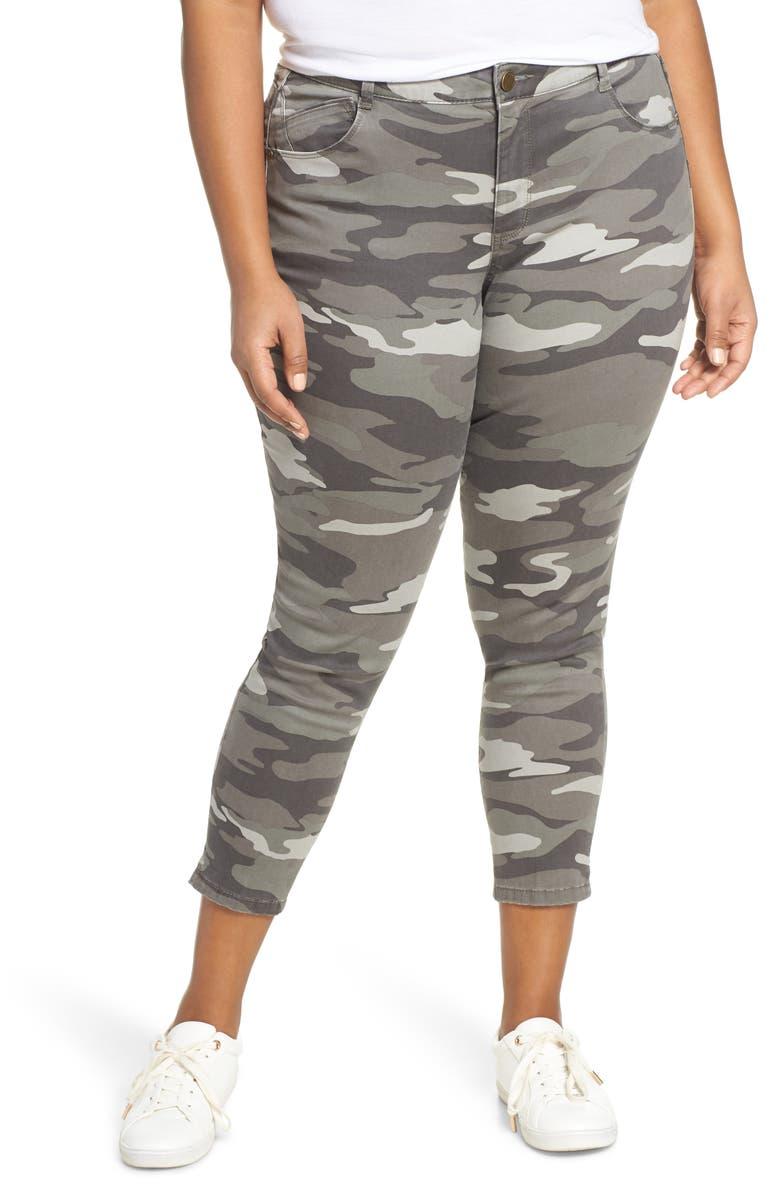 WIT & WISDOM Ab-Solution Camo High Waist Ankle Skinny Pants, Main, color, SAGE