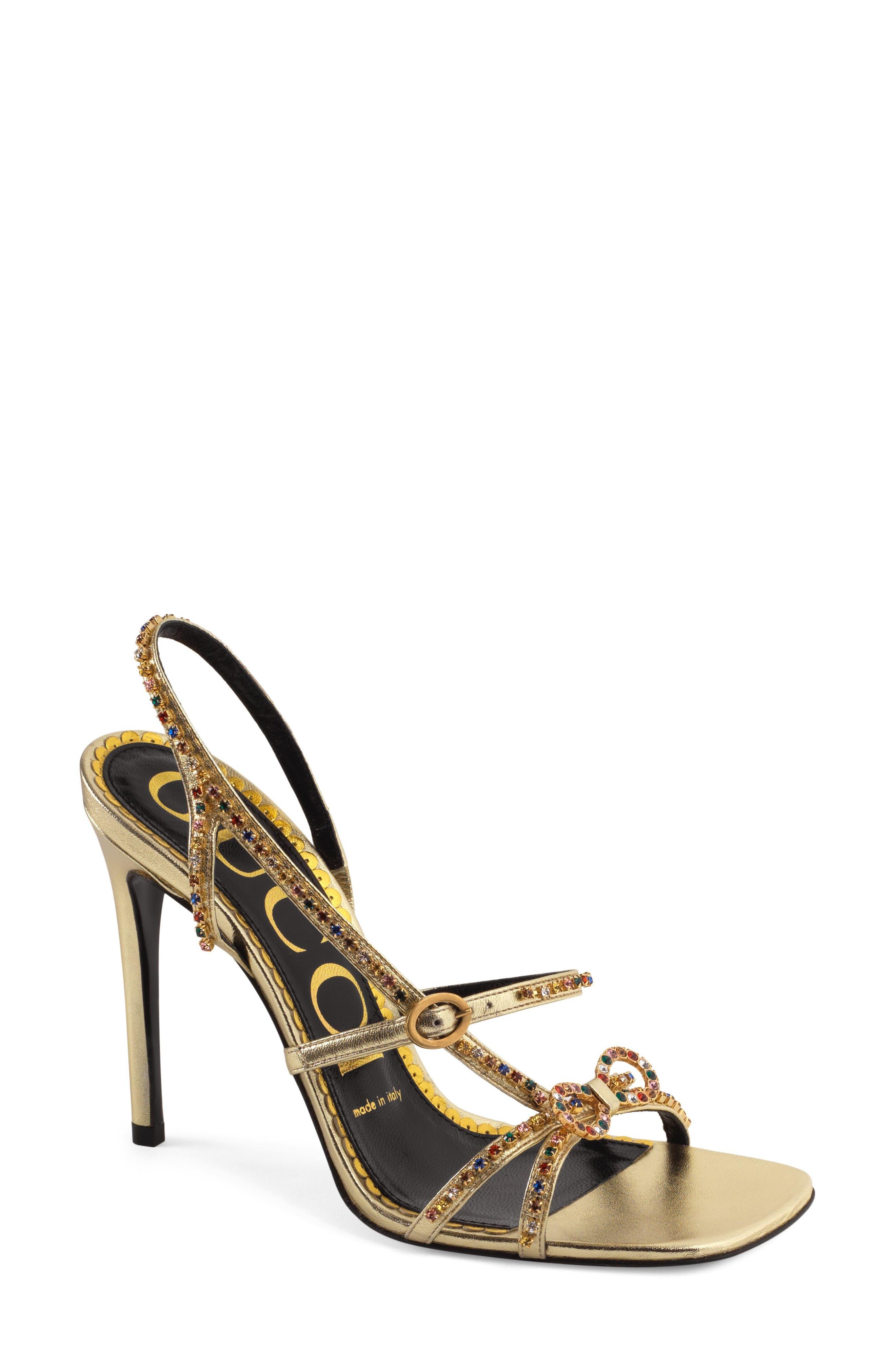 Gucci Carmen Crystal Bow Metallic Slingback Sandal (Women)