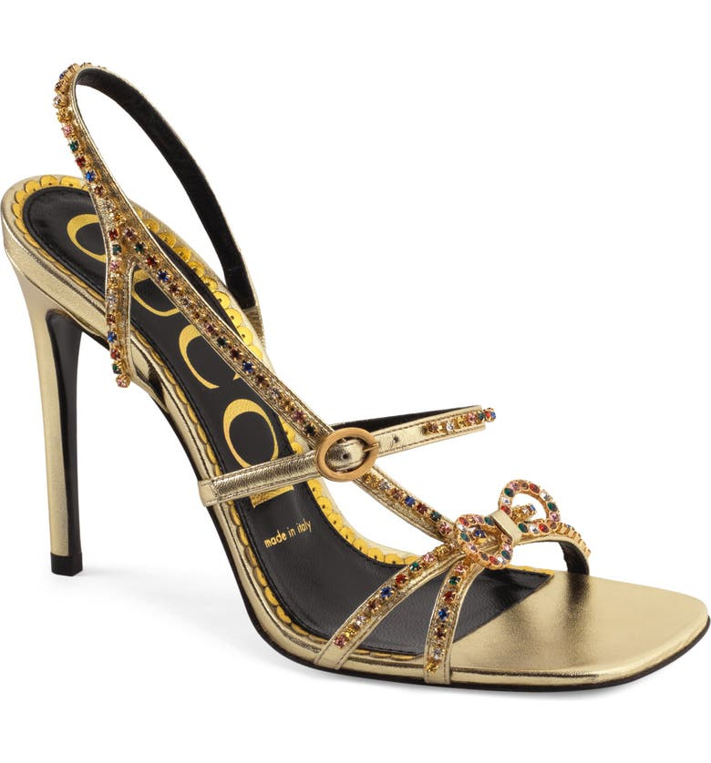 GUCCI Carmen Crystal Bow Metallic Slingback Sandal, Main, color, GOLD