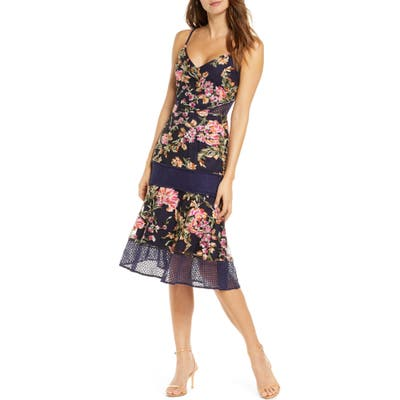 Adelyn Rae Kaylea Sleeveless Embroidered Lace Trim Dress, Blue