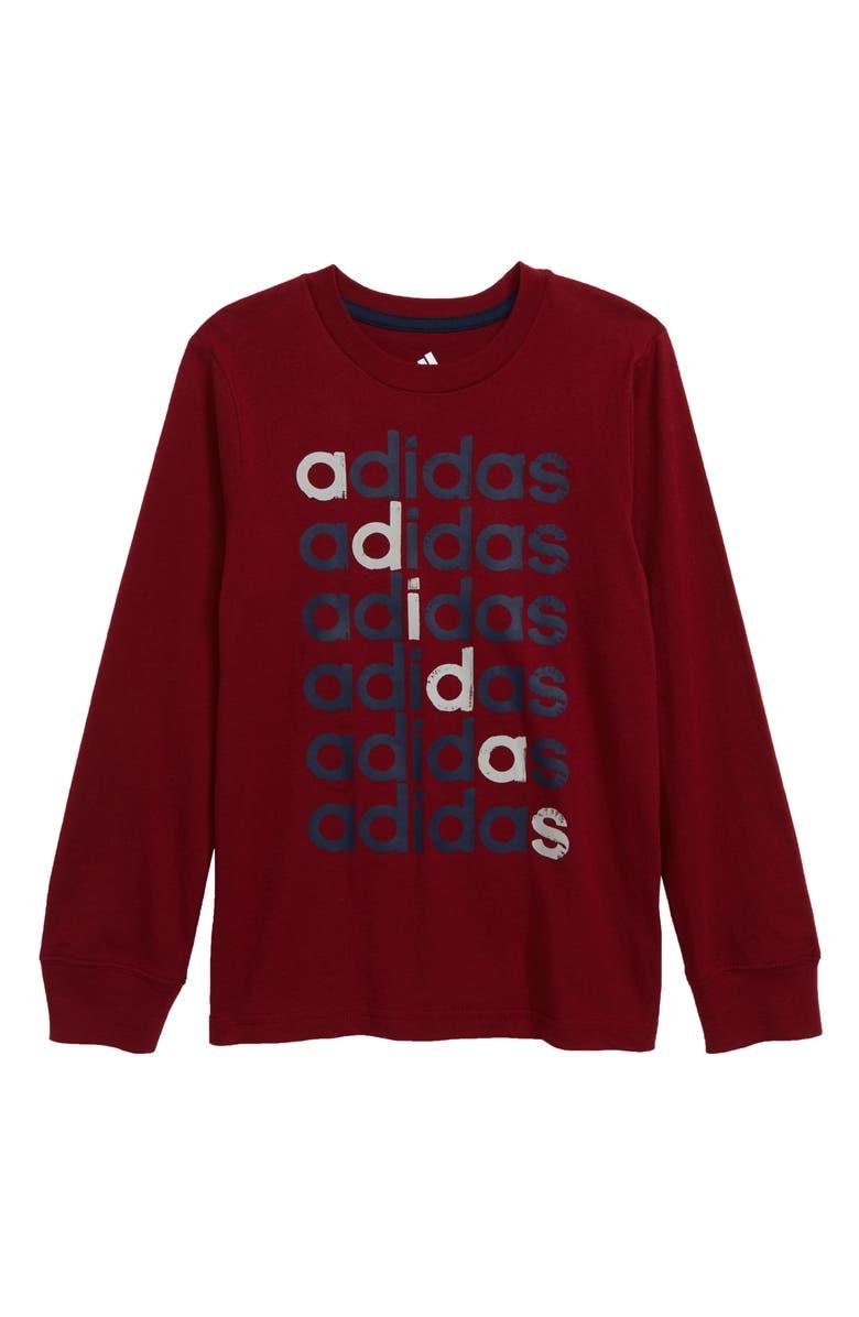 ADIDAS Linear Echo Logo T-Shirt, Main, color, BURGUNDY