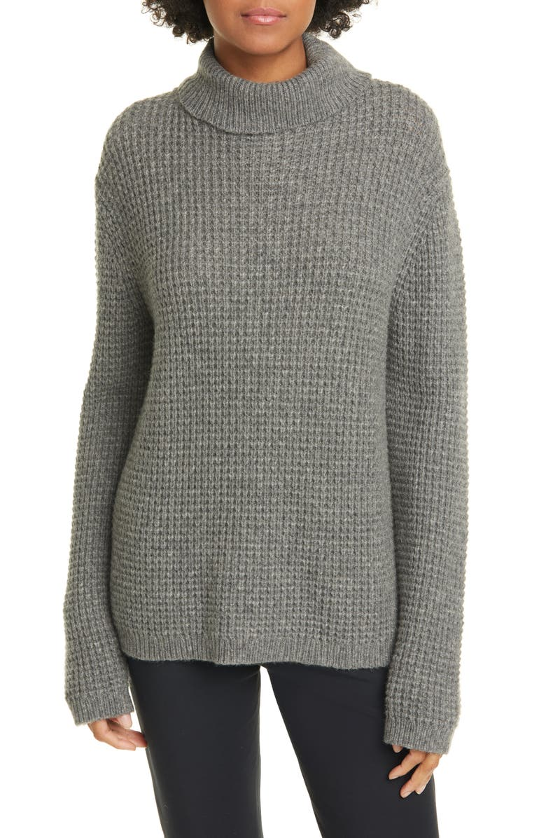 JENNI KAYNE Cameau Seattle Wool & Camel Hair Blend Turtleneck Sweater, Main, color, HEATHER GREY