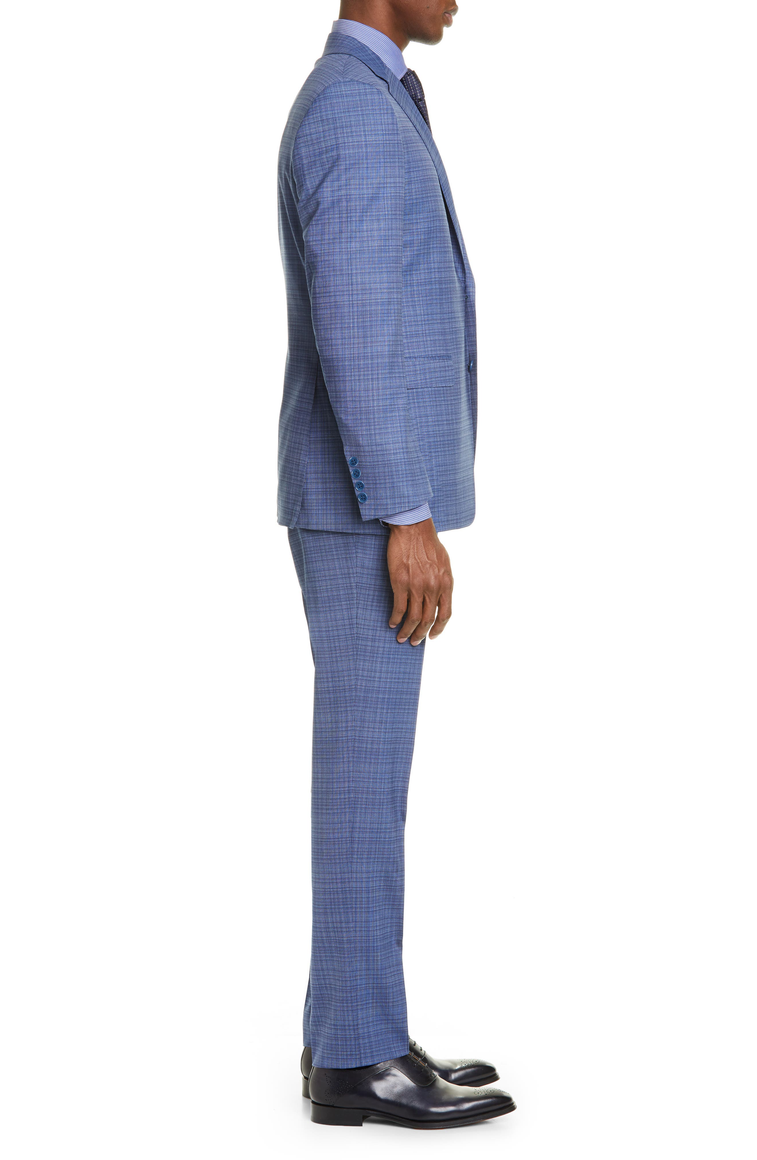 ,                             Milano Classic Fit Check Wool Suit,                             Alternate thumbnail 3, color,                             BLUE