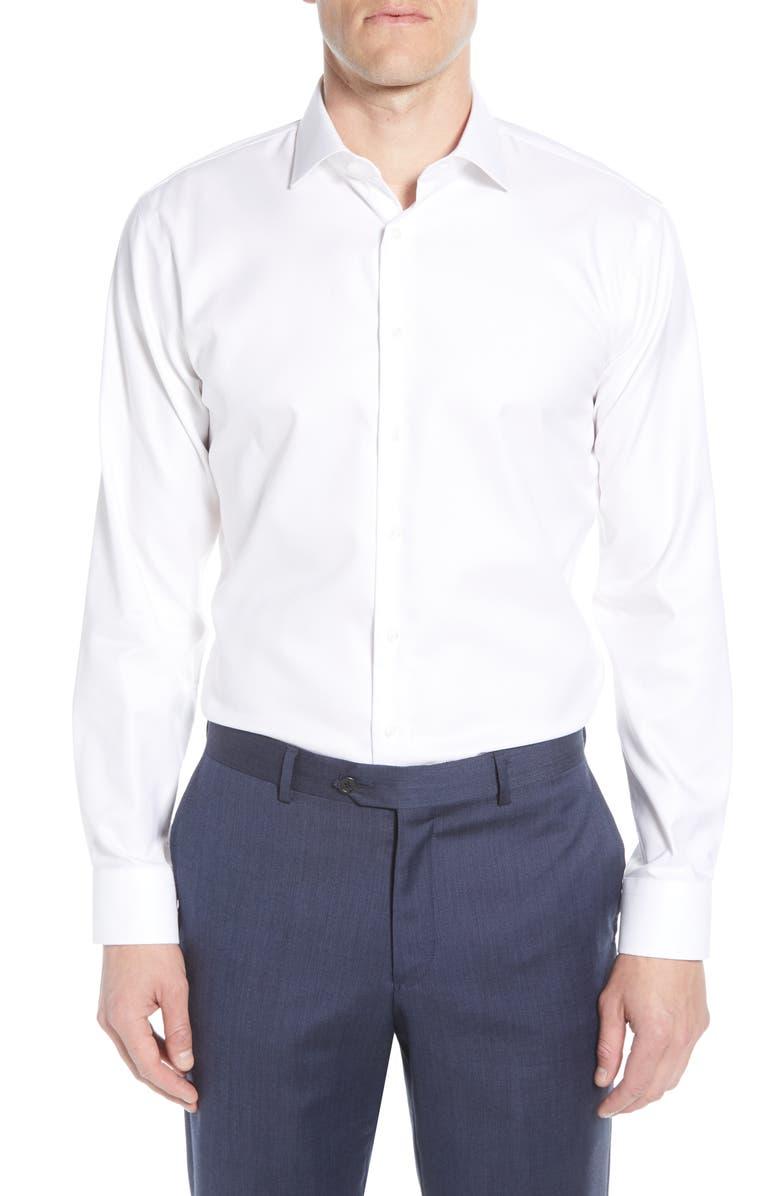 NORDSTROM MEN'S SHOP Trim Fit Non-Iron Solid Dress Shirt, Main, color, WHITE