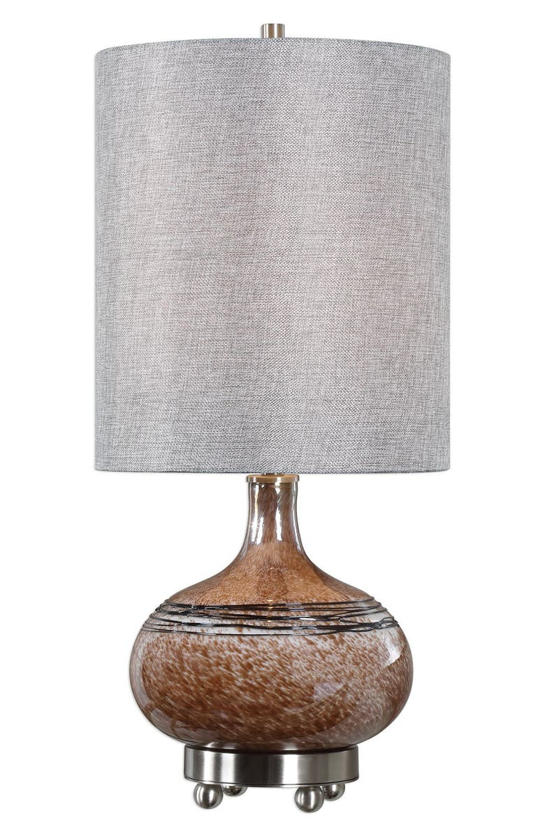 UTTERMOST Judsonia Rust Glass Accent Lamp, Main, color, RUST/ BRSHD NKL TRM/ GRY SHD