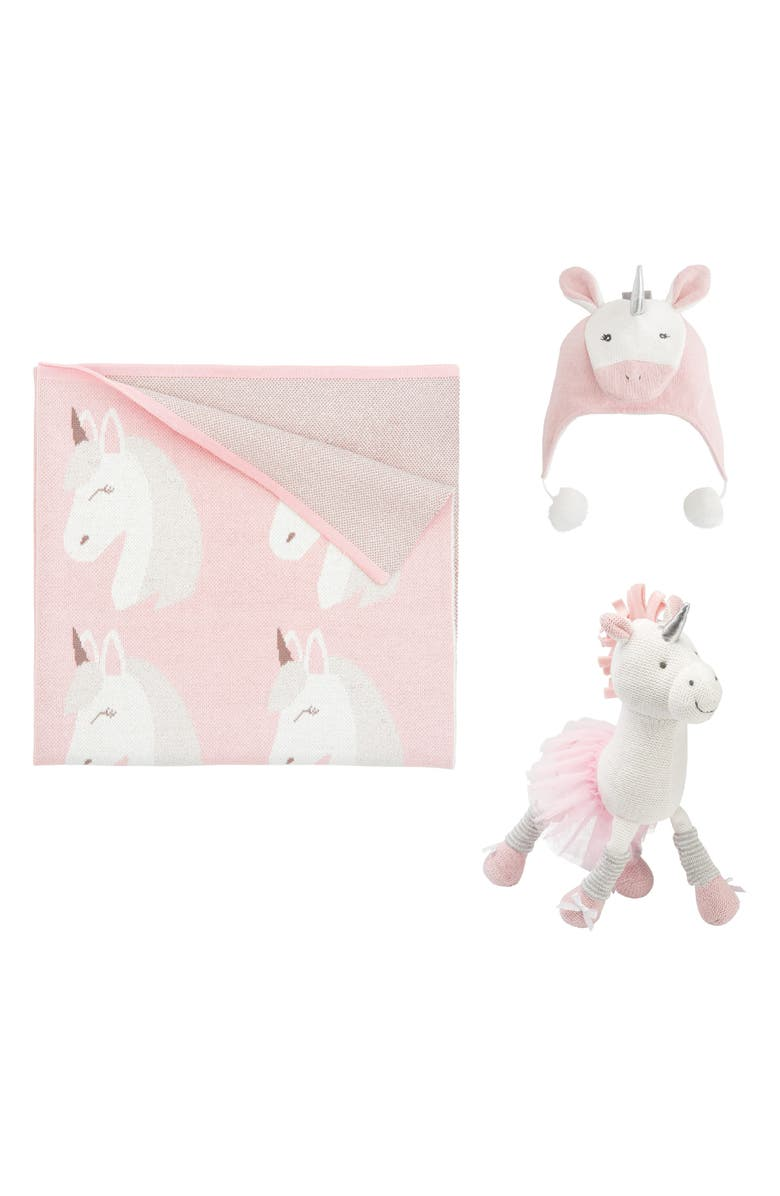ELEGANT BABY Unicorn Knit Blanket, Hat & Stuffed Animal Set, Main, color, PINK