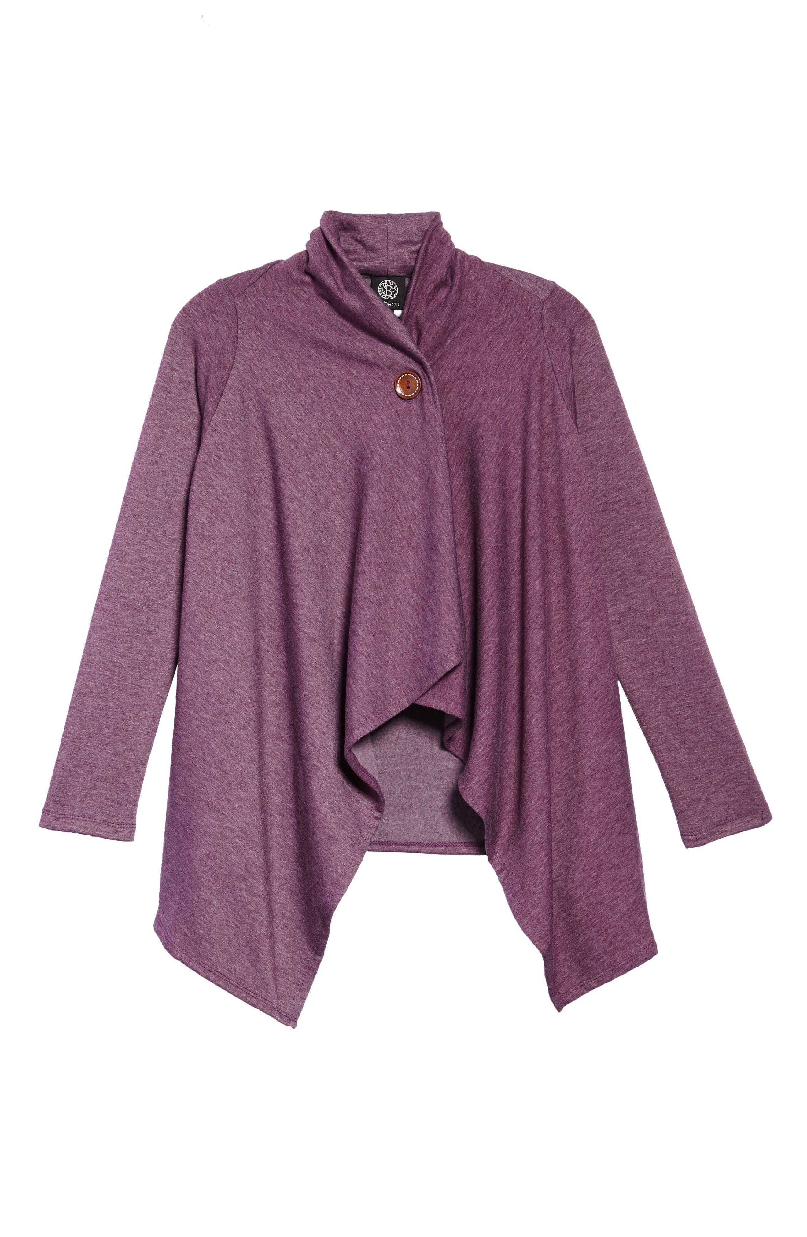 ,                             One-Button Fleece Wrap Cardigan,                             Main thumbnail 14, color,                             507
