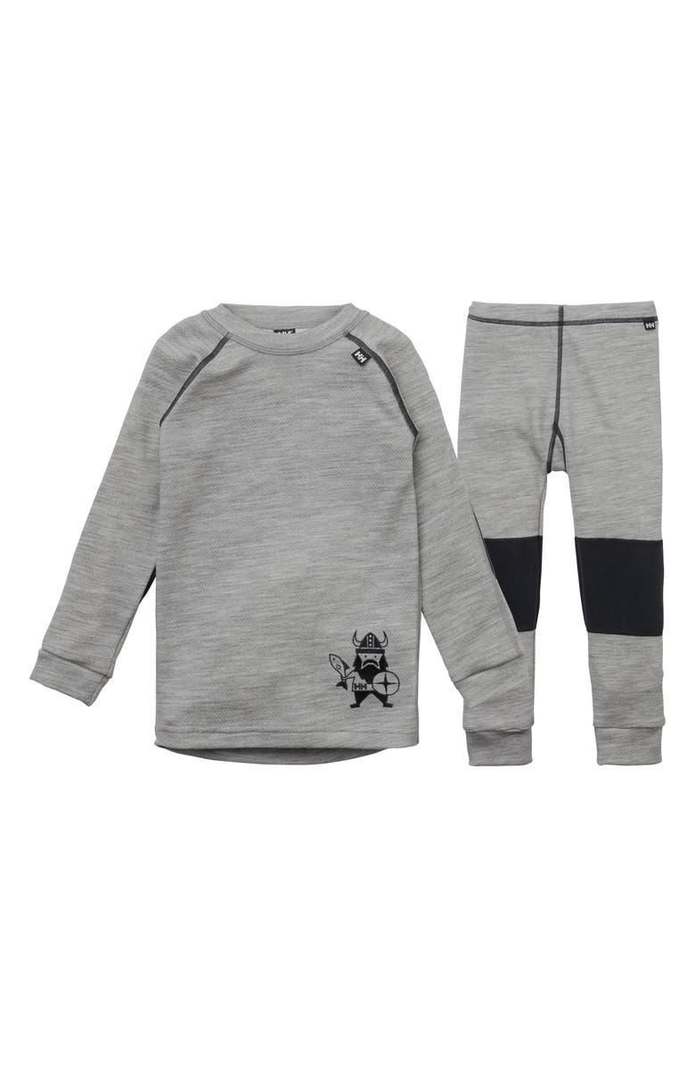 HELLY HANSEN HH<sup>®</sup> Warm Base Layer Top & Pants Set, Main, color, GREY MELANGE
