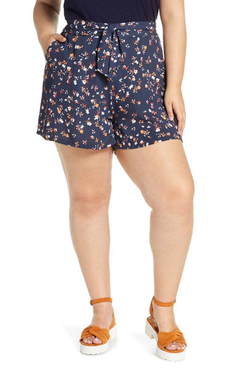 BP. Floral Print Tie Waist Shorts, Main, color, NAVY INDIGO COTTON FLORAL