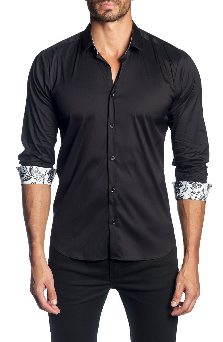 JARED LANG Slim Fit Solid Shirt, Main, color, BLACK