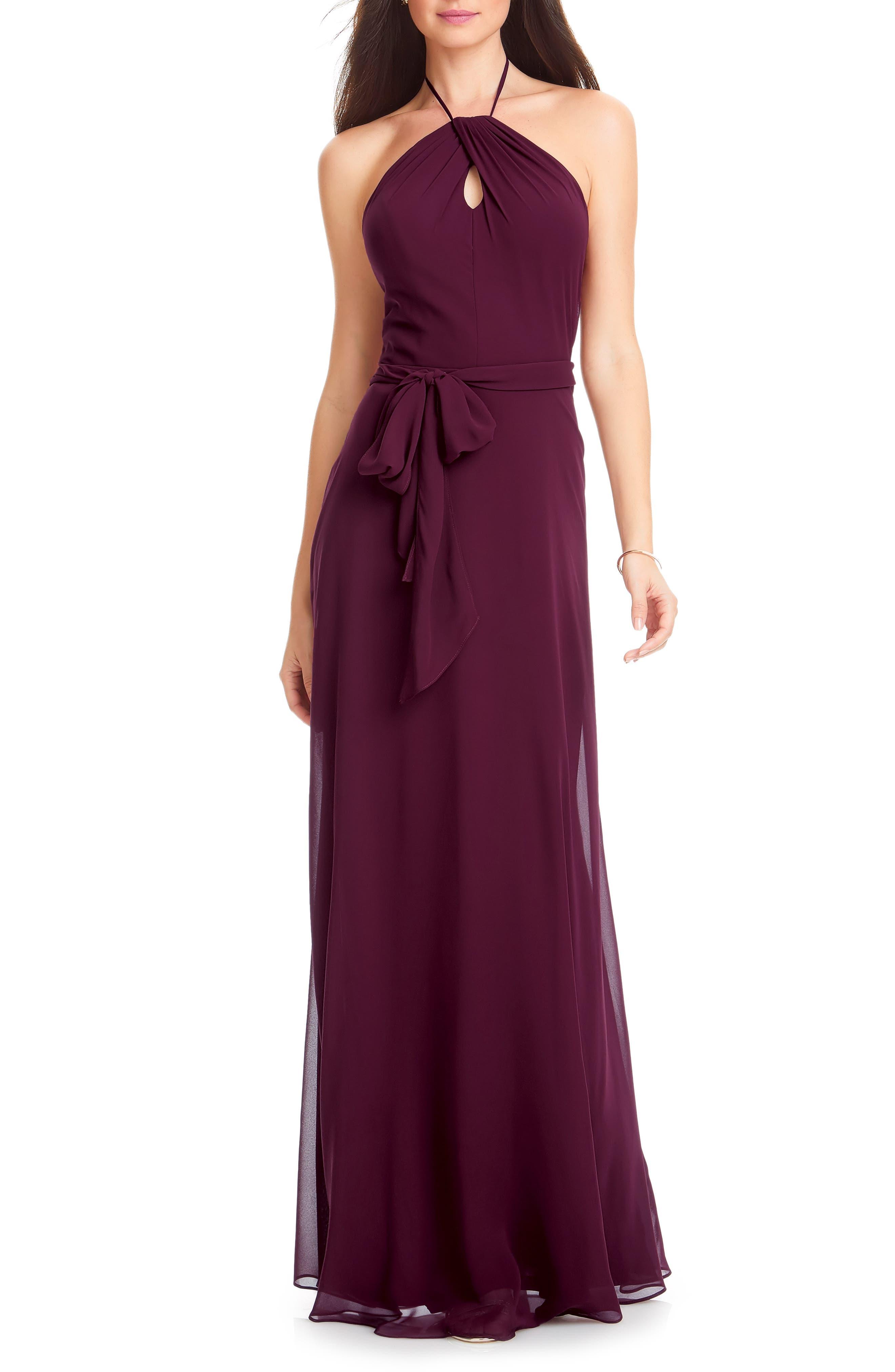 #levkoff Chiffon Tie Waist Halter Gown, Red