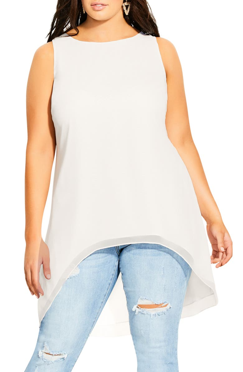 CITY CHIC Bella Vacanza Collection Sevil High/Low Sleeveless Top, Main, color, IVORY