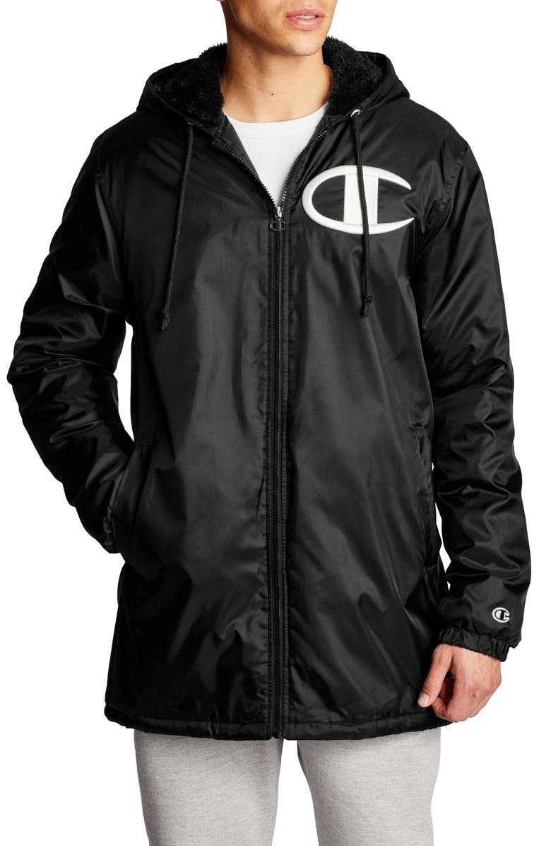 CHAMPION Faux Shearling Lined Stadium Jacket, Main, color, BLACK