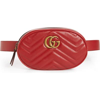 Gucci Gg Marmont Matelasse Leather Belt Bag - Red