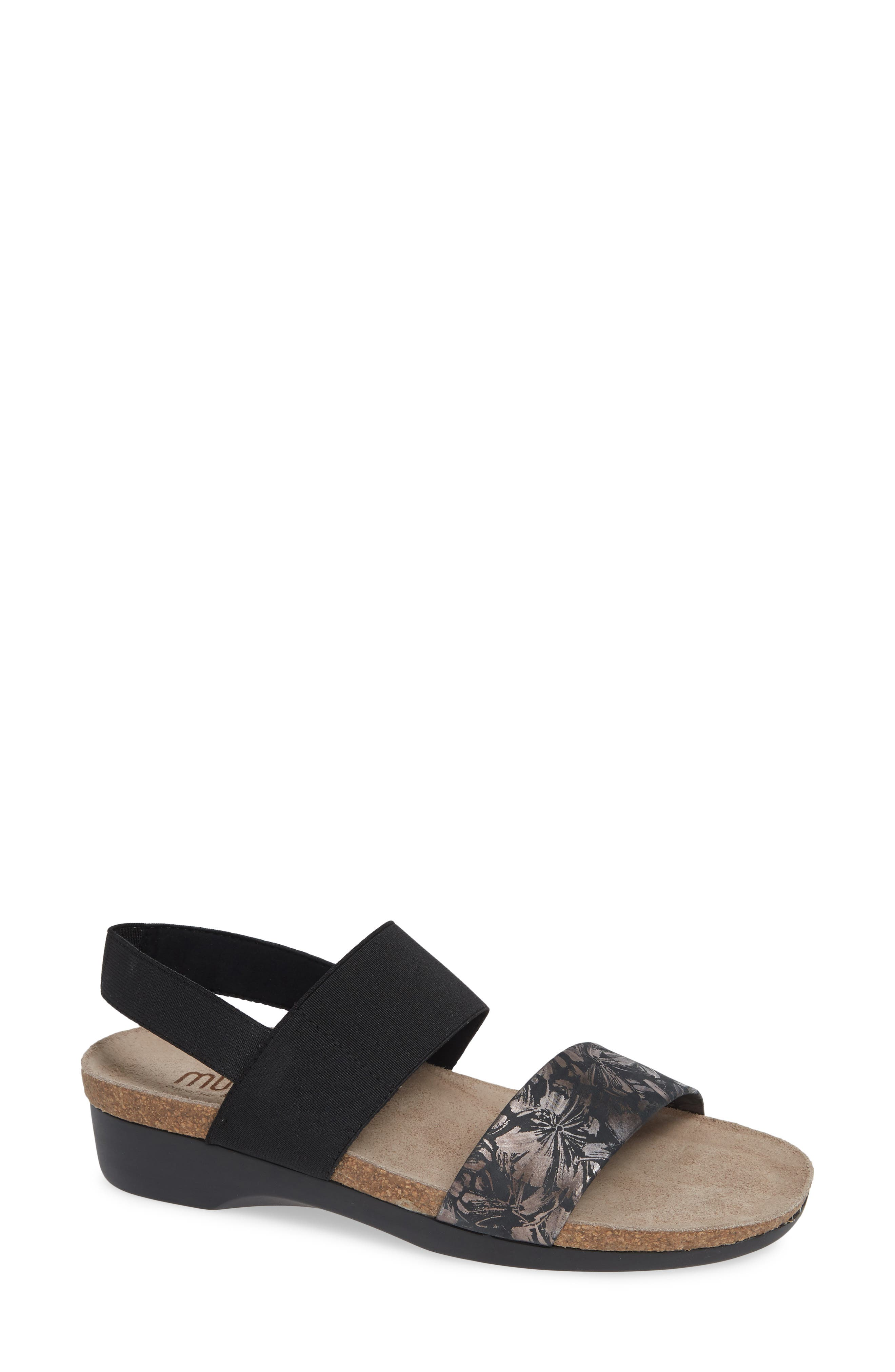 'Pisces' Sandal, Main, color, DARK FLORAL PRINT LEATHER