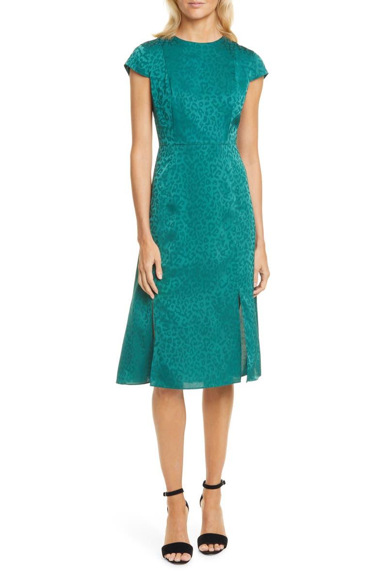 TED BAKER LONDON Leopard Jacquard Dress, Main, color, 311