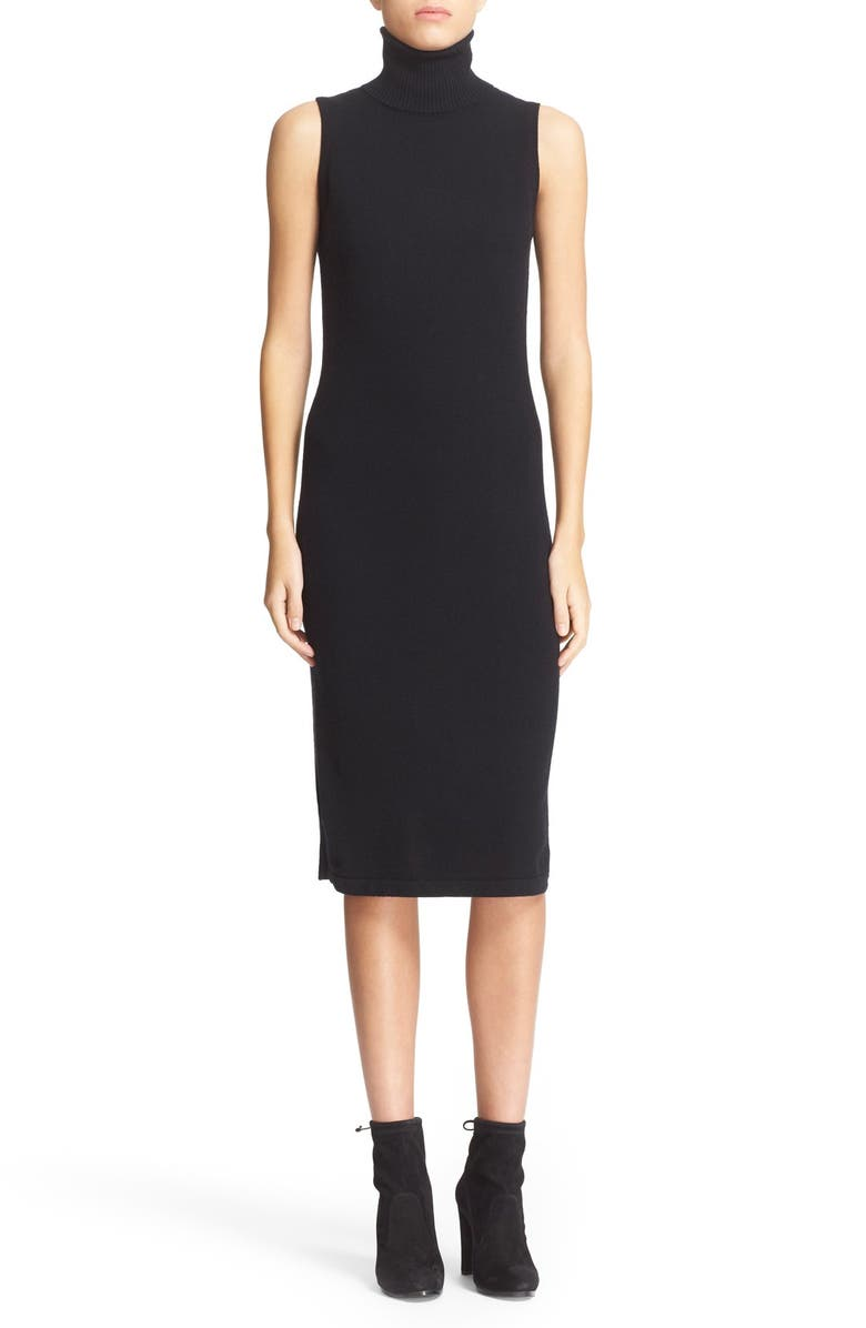 AUTUMN CASHMERE Sleeveless Turtleneck Cashmere Sheath Dress, Main, color, 001