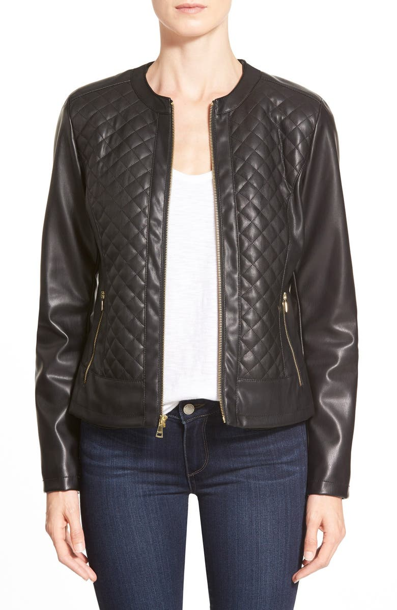 COLE HAAN SIGNATURE Collarless Quilted Faux Leather Jacket, Main, color, 001