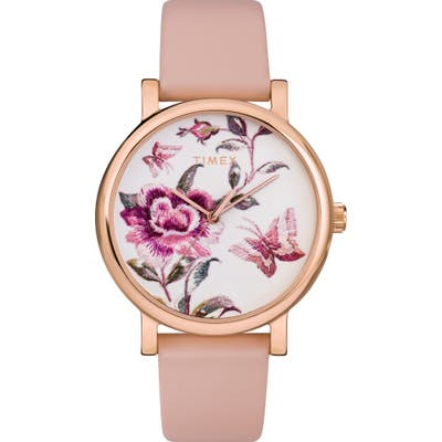 Timex Full Bloom Leather Strap Watch,