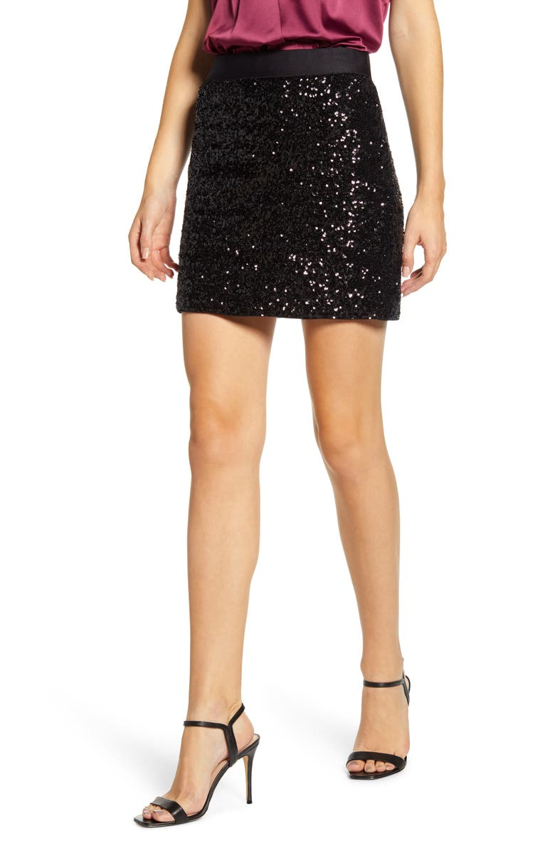 BAILEY 44 Bridgette Sequin Miniskirt, Main, color, 001