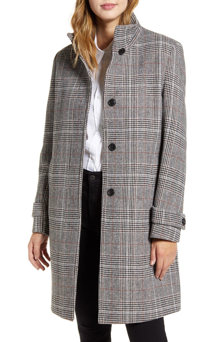 COLE HAAN Plaid Wool Blend Coat, Main, color, GLEN PLAID