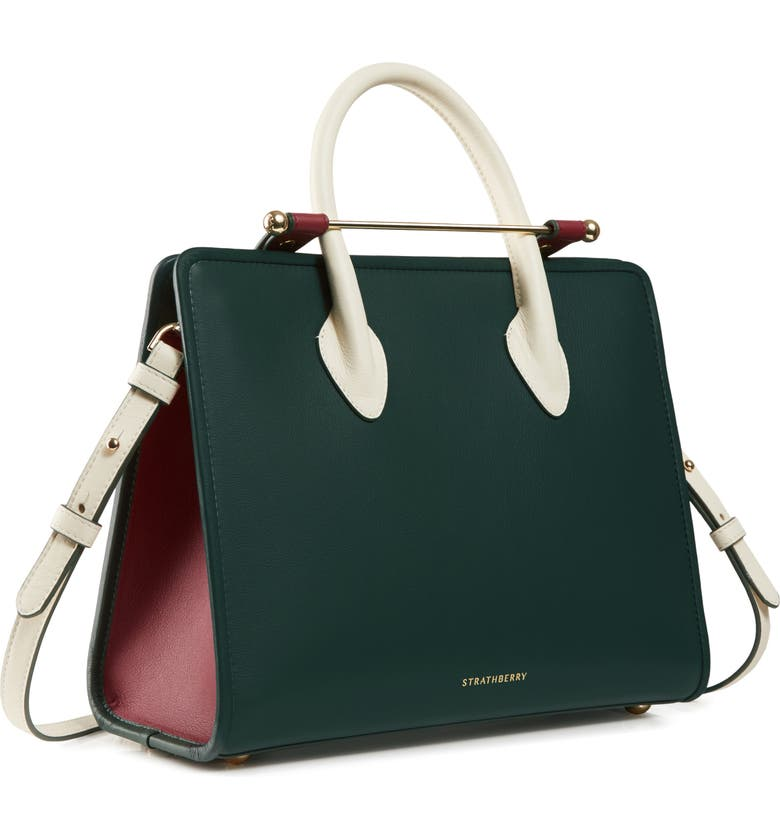 STRATHBERRY Midi Tricolor Leather Tote, Main, color, BOTTLE GREEN/ EMBER/ VANILLA