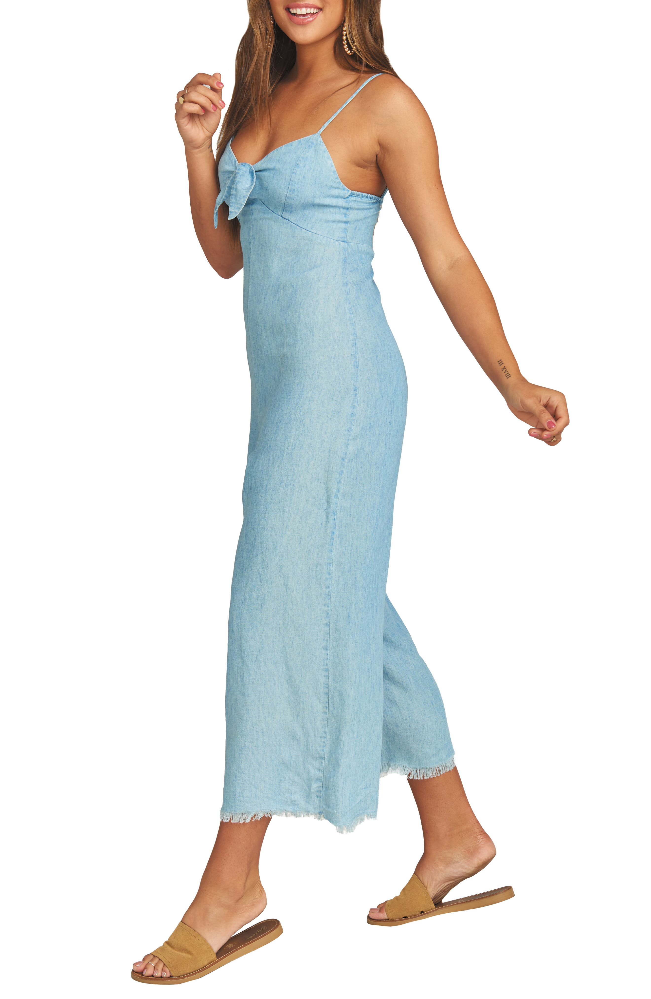 ,                             Paolo Chambray Wide Leg Jumpsuit,                             Alternate thumbnail 4, color,                             SHORE CHAMBRAY
