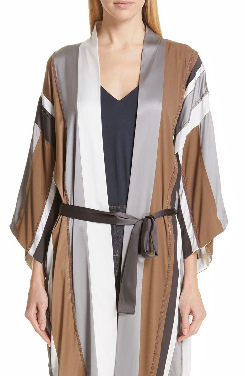 BRUNELLO CUCINELLI Monili Trim Stripe Satin Robe, Main, color, 020