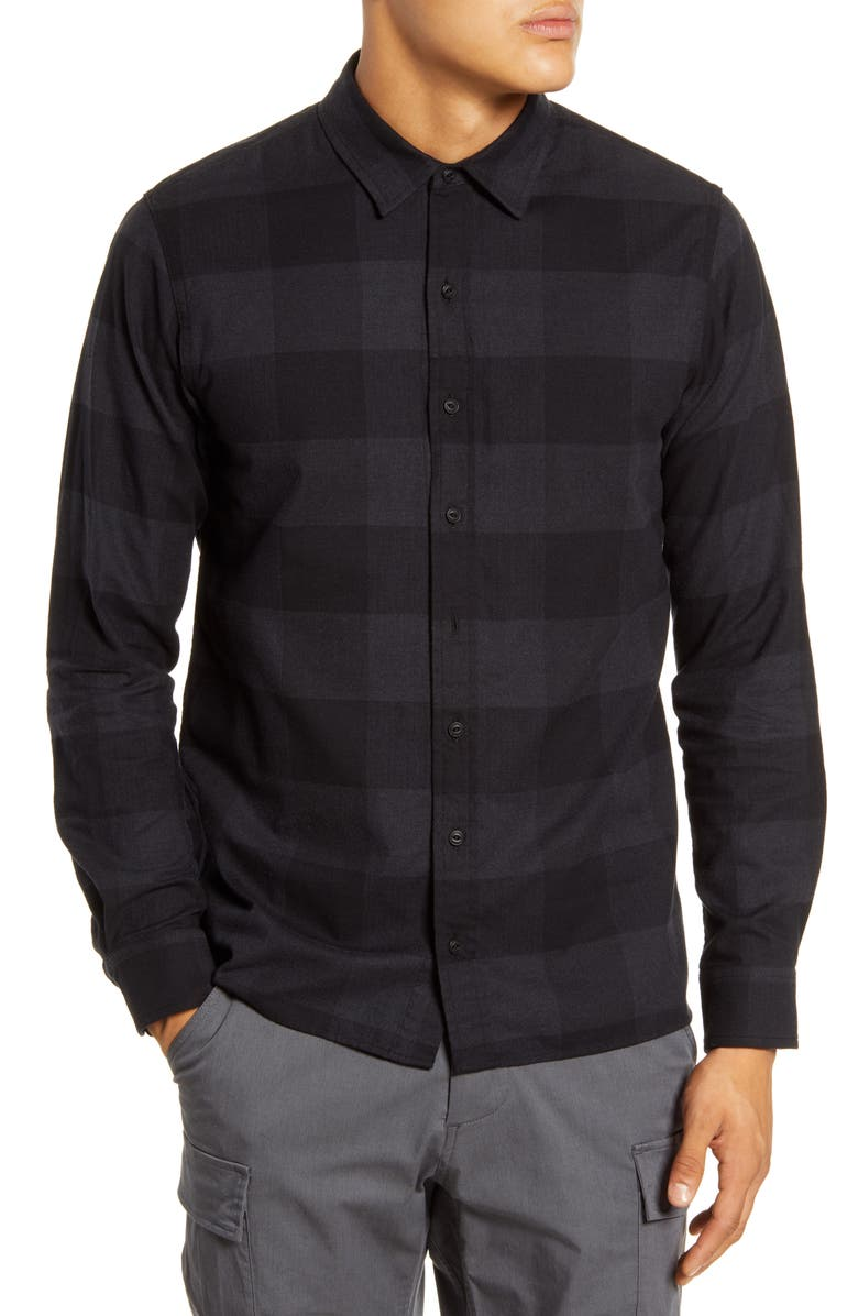 WINGS + HORNS Button-Up Flannel Officer Shirt, Main, color, 001